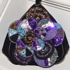 CHICO'S Black Velvet Stones Fall Clutch BAG!